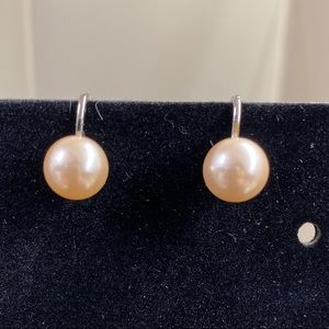 Vintage Monet faux Pearl earrings clip back 1/4in.